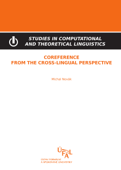 Novák Michal: Coreference from the cross-lingual perspective