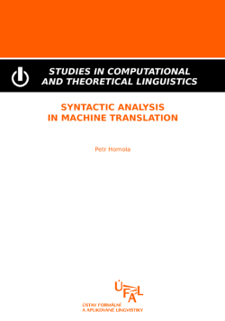Petr Homola: Syntactic Analysis in Machine Translation