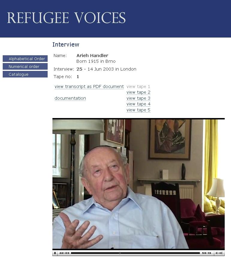 Uživatelské rozhraní archivu Hlasy uprchlíků