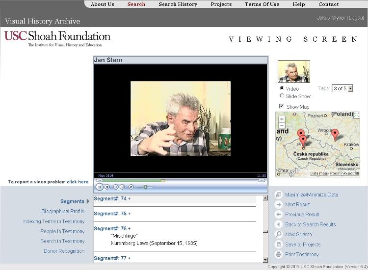 Uživatelské rozhraní Archivu vizuální historie